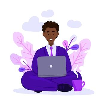 Homem adulto afro-americano trabalhando em casa