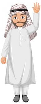 Homem adulto árabe usando fantasia de personagem árabe