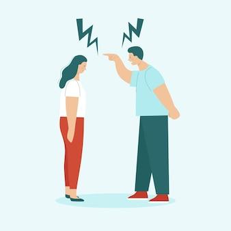 Homem adulto e mulher brigam. conceito de conflitos familiares, ressentimento, agressão, divórcio. marido e mulher gritam e xingam. ilustração em vetor plana isolada.