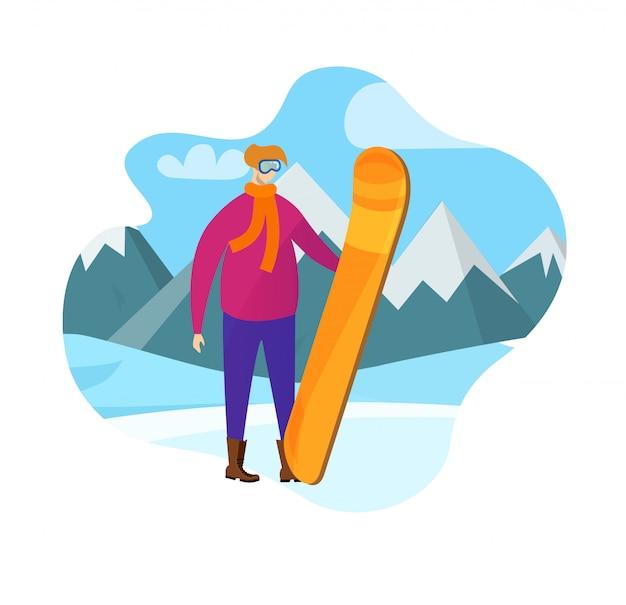 Homem adulto, em, roupa inverno, segurando, snowboard