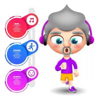 Homem adulto malhando ouvindo música e infográfico