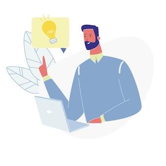 Homem adulto, sente-se, com, laptop, tendo, excelente, idéia