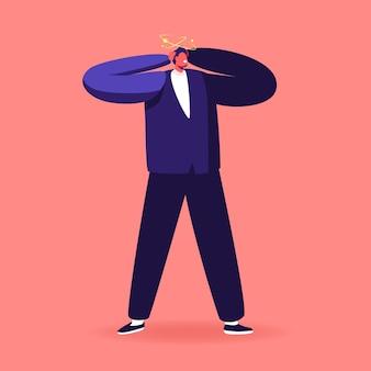 Homem adulto tonto com dor de cabeça ou sintoma de enxaqueca, personagem masculino sente tontura tocando a cabeça com estrelas voando ao redor