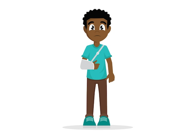 Homem africano com o braço quebrado.