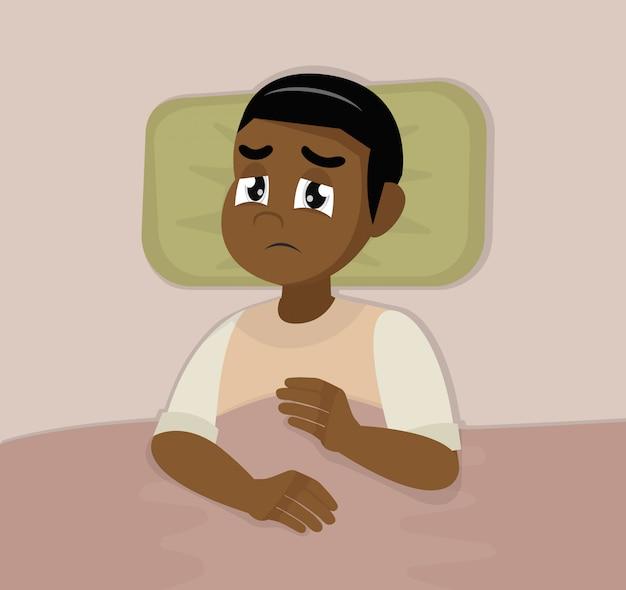Homem africano com problemas de sono e sintomas de insônia.