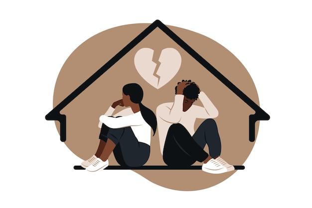 Homem africano e uma mulher em uma briga como ilustração do conceito de divórcio