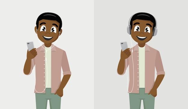 Homem africano feliz segurando um telefone e ouvindo música com fones de ouvido