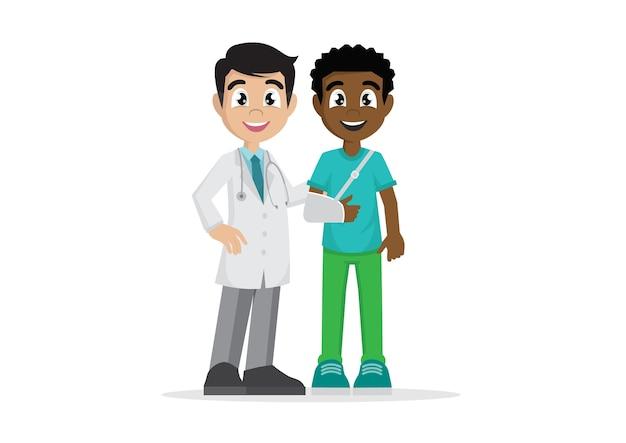 Homem africano ferido com o médico.