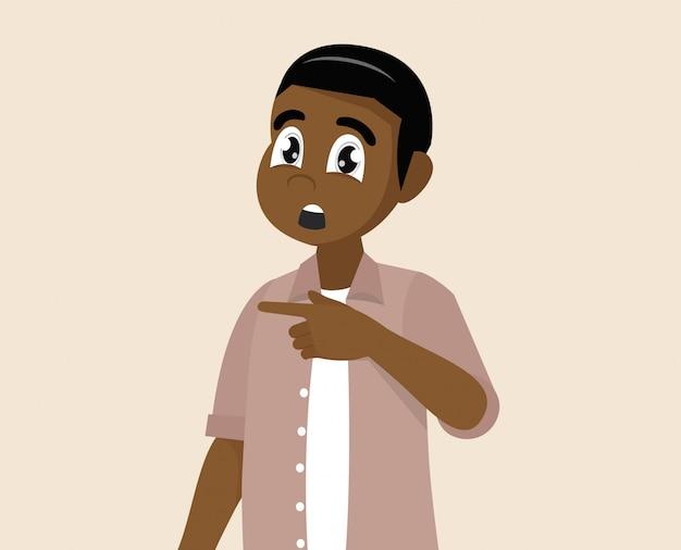Homem africano surpreso aponta para algo.