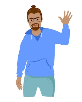 Homem afro-americano atraente e feliz, carismático, levantando a palma da mão para dar high five ou aceno amigável