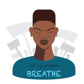 Homem afro-americano com raiva e tristeza no rosto, ilustração