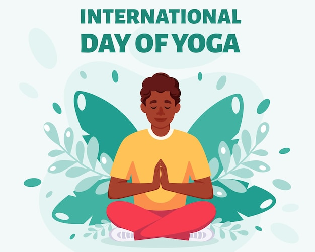 Homem afro-americano meditando em pose de lótus dia internacional da ioga
