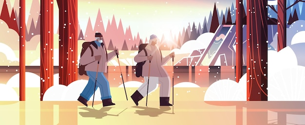 Homem afro-americano sênior, mulher, alpinistas viajando junto com mochilas, idade avançada ativa, conceito de atividades físicas paisagem de inverno fundo ilustração vetorial horizontal de comprimento total