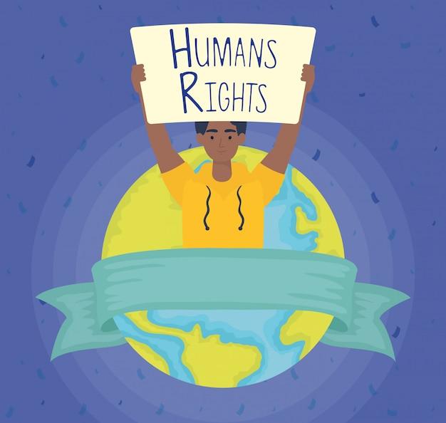 Homem afro com etiqueta de direitos humanos e projeto de ilustração vetorial mundo planeta