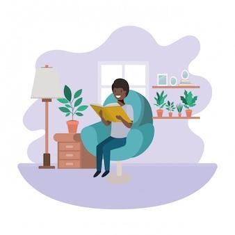 Homem, afro, com, livro, em, livingroom, avatar, personagem