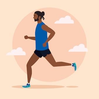 Homem afro correndo, homem no sportswear, jogging, atleta do sexo masculino, pessoa desportiva