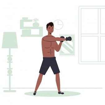 Homem afro praticando atividade esportiva de boxe em casa