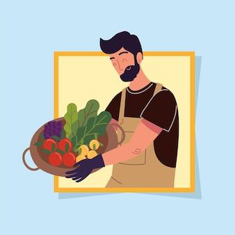 Homem agricultor com vegetais