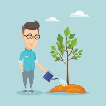 Homem, aguando, árvore, vetorial, illustration.