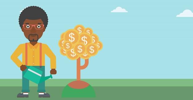 Homem, aguando, dinheiro, árvore