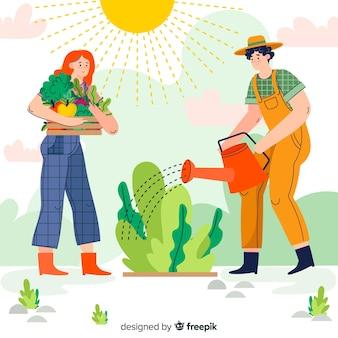 Homem, aguando, plantas