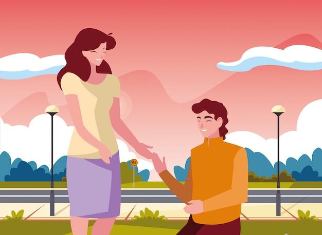 Homem, ajoelhando, com, mulher segura, mão
