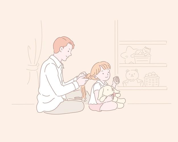 Homem ajuda uma menina a fazer tranças no cabelo em uma ilustração do estilo de linha
