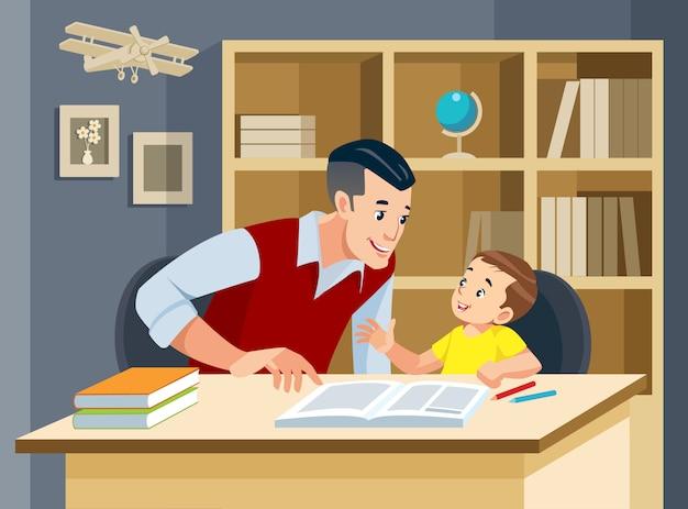 Homem ajudando jovem rapaz fazendo lição de casa e sorrindo. família amigável.