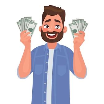 Homem alegre com notas de dinheiro em suas mãos.