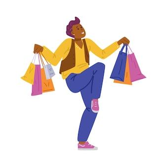 Homem alegre e alegre com sacolas de compras nas mãos. ilustração em vetor plana isolada