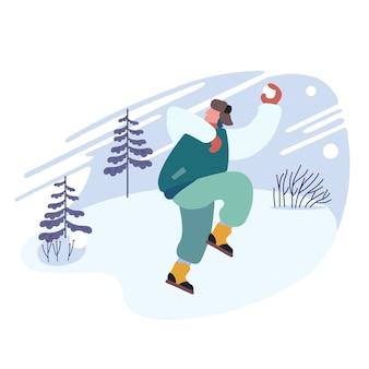 Homem alegre feliz jogando bolas de neve no fundo da paisagem de neve.