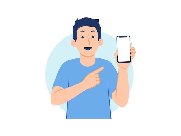 Homem alegre segurando e mostrando o telefone com a mão apontando para a ilustração do conceito de tela do telefone