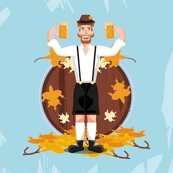 Homem alemão com celebração de oktoberfest de cerveja