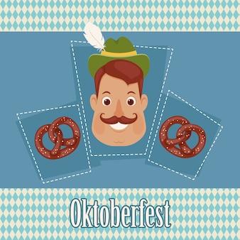 Homem alemão com pretzels no fundo da baviera