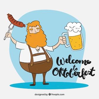 Homem alemão desenhado a dedo com cerveja e salsicha