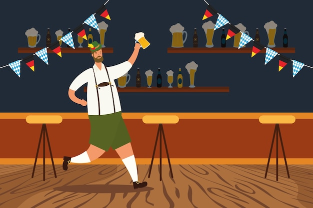 Homem alemão vestindo terno tirolês bebendo cerveja desenho de ilustração vetorial de personagens