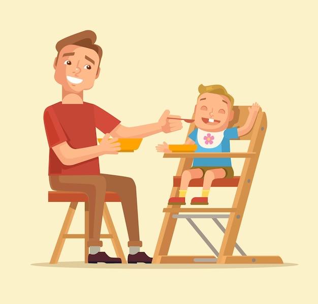 Homem alimentando bebê. pai alimentando bebê.