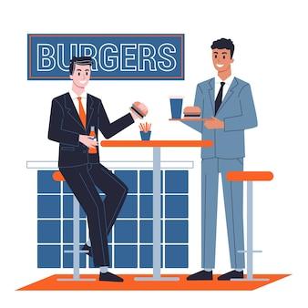 Homem almoçando no trabalho com os colegas. o homem come comida. sentado à mesa. ilustração em estilo cartoon