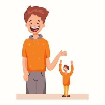 Homem alto e baixo. ilustração vetorial em estilo simples