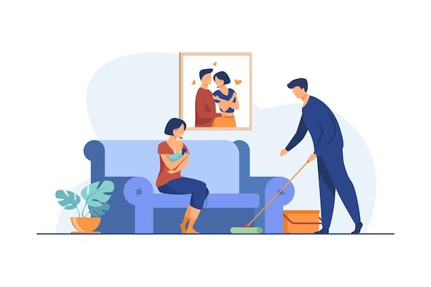 Homem amoroso, ajudando com a rotina da casa quando a mulher alimenta o bebê. ilustração em vetor plana de mama, família, recém-nascido. maternidade e lactação