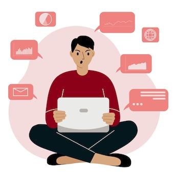 Homem analisando dados em seu laptop e sentado de pernas cruzadas. zangado e gritando. conceito de ciência de dados. gráficos e tabelas de negócios. ilustração em vetor plana.