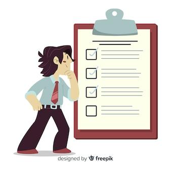 Homem, analisar, lista lista ilustração