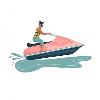 Homem anda de jet ski. viagem pelo mundo. planejando férias de verão. esportes aquáticos. diversão no oceano, esporte radical, esqui aquático ilustração plana. vista lateral