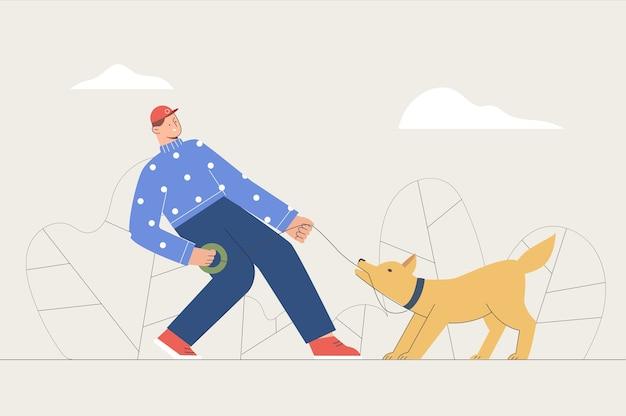 Homem andando com cachorro de estimação