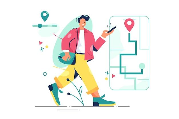 Homem andando com ilustração de navegação