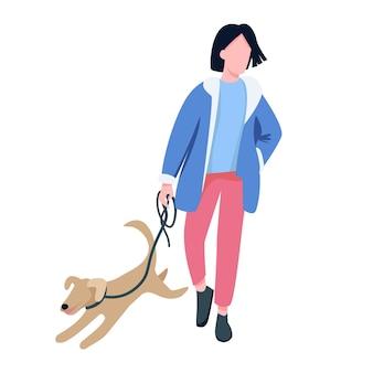 Homem andando com personagem sem rosto de cor plana de cachorro. dono de animal de estimação, amante de cães passeando com filhote de cachorro brincalhão, ilustração de desenho animado isolada ao ar livre para design gráfico e animação web