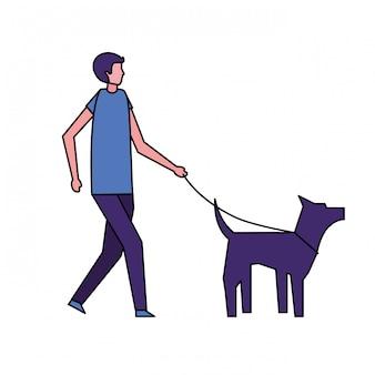 Homem andando com seu cachorro de estimação