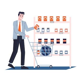 Homem andando com uma cesta de compras no supermercado. personagem comendo comida na loja. ilustração