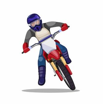 Homem andando de bicicleta de sujeira de motocross, trilha de moto piloto nas curvas na ilustração plana dos desenhos animados, isolada no fundo branco