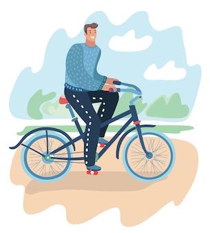 Homem andando de bicicleta jovem sentado no banco, trabalhando com o laptop e a menina correndo no parque